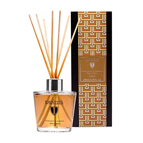 Identita Premium Fragrance Oil Diffuser Reed Stick Set – UNO 6.76 FL oz – Sicilian Lemon Artemisia Sandalwood Highest Quality Sophisticated Glass Vase