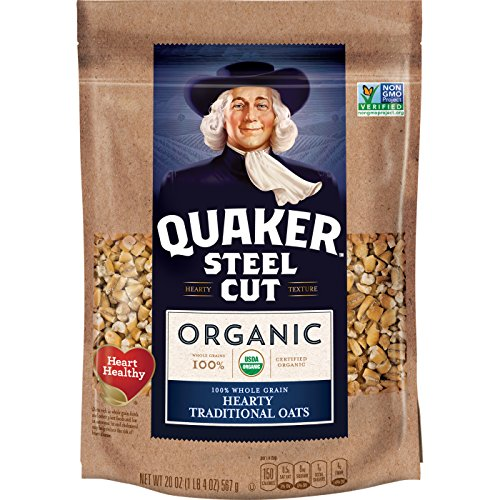 Quaker Organic Steel Cut Oatmeal, Breakfast Cereal, Non-GMO Project Verified, 20 Ounce Resealable Bags, 4 Bags ()