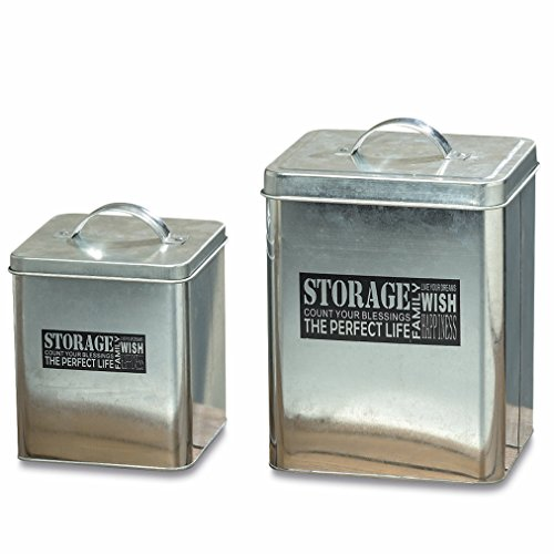 The Gastro Chic STORAGE Canisters, Set of 2, Galvanized Silver Metal, Lift Off Half Moon Handles, Storage Containers, Boxes, Tins, Word Art Text, 10 1/4 and 7 1/2 Inches Tall, By Whole House (Galvanized Box)