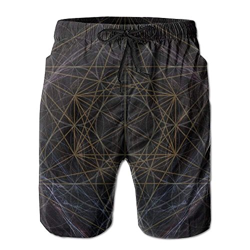 (loejrfw Magic Smoking Sacred Geometry Men's Beach Shorts Casual Swim Trunks Surf Board Pants with Pockets for Men X-Large)