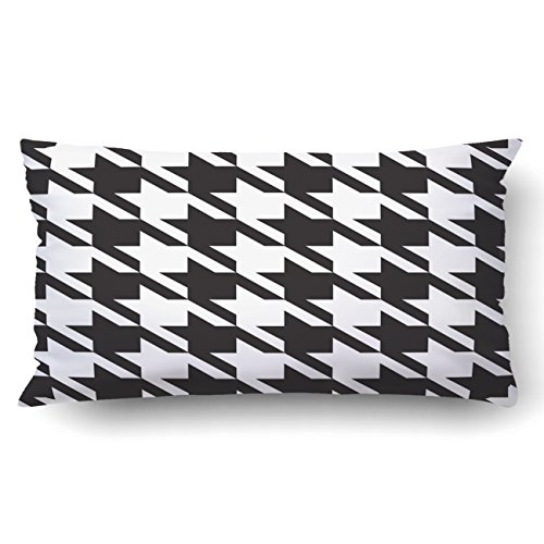 Large Plaid Wallpaper - Emvency King 20x36 Inches Decorative Pillowcases Seamless Hounds-Tooth Pattern Background With Black And White Cotton Polyester Decor Throw Pillow Cover With Hidden Zipper For Bedroom Sofa