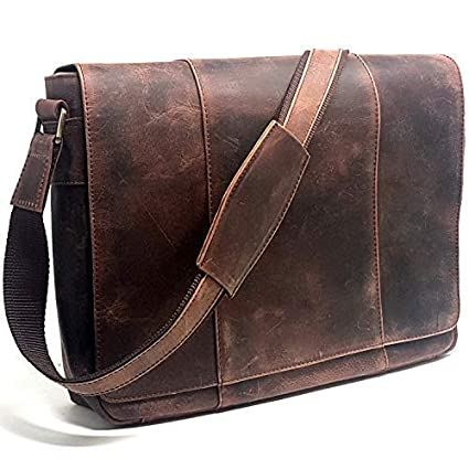 8803e2ee5d71 Image Unavailable. Image not available for. Color  Leather Messenger Flap  Bag for 15.6-Inch Laptop ...