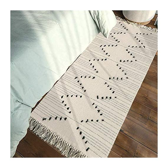 Hand Woven Rug Runner, Boho Rug for Bedroom, Cotton Small Tassels Area Rug for Kitchen Laundry Bathroom Doorway, Beige 2… - 💬 DIMENSION - 2 x 4.3 feet. ( size does not include tassel ). Package includes 1 pc area rug. 💬 TASSELS BOHO RUG RUNNER - Cotton area chindic rug designed with Moroccan inspired which has tribal motifs that seem simple but are extremely rich and complex in symbolism, and they convey deep visual beauty and emotions, boho pattern on the floor runner adds exquisite detail and craftsmanship 💬 GREAT QUALITY MATERIAL - Woven cotton blend well made, 45% Cotton+ 45% polyester+10% viscose. Thick and breathable touch 💬 USAGE: Abstract contemporary floor mat rug put in living room, bedrooms, bathroom for children play, women yoga, reading in sturdy, etc; Or perfect put at home under a coffee table, a small dining set, in a kitchen, or an entryway, offers luxurious comfort and versatile furnishing options style to any room and place - runner-rugs, entryway-furniture-decor, entryway-laundry-room - 51mQE%2BmCV%2BL. SS570  -