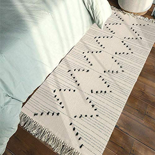 Tassel Beige Cotton Woven Rug Runner | Hand Knot Geometric Chindi Area Rug with Fringe, Machine Washable Floor Mat for Bedroom, Living Room, Kitchen, Laundry Room, Sofa - Rug Cream Runner