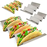 Taco Holder 4 Pack - Stainless Steel Taco Stand with No Slip Side Handles - Serve your Tacos, Fajita Mess Free - Metal Racks Holders for Taco Shell, Tortilla, Burrito And More. Oven And Grill Safe