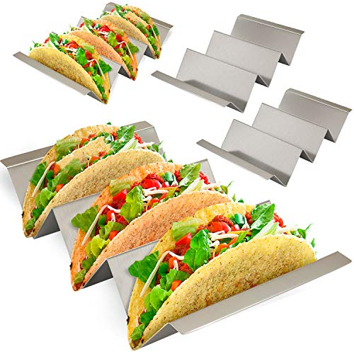 Taco Holder 4 Pack - Stainless Steel Taco Stand with No Slip Side Handles - Serve your Tacos, Fajita Mess Free - Metal Racks Holders for Taco Shell, Tortilla, Burrito And More. Oven And Grill Safe by Ultimate Hostess (Image #7)