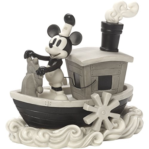 Precious Moments 172707 Steamboat Mickey Bisque Porcelain Figurine Disney Showcase Mickey Mouse, Multi
