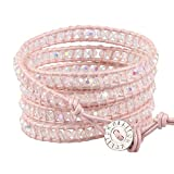 KELITCH Leather Wrap Bracelets with Pink Crystal Beads Hand Jewelry Adjustable