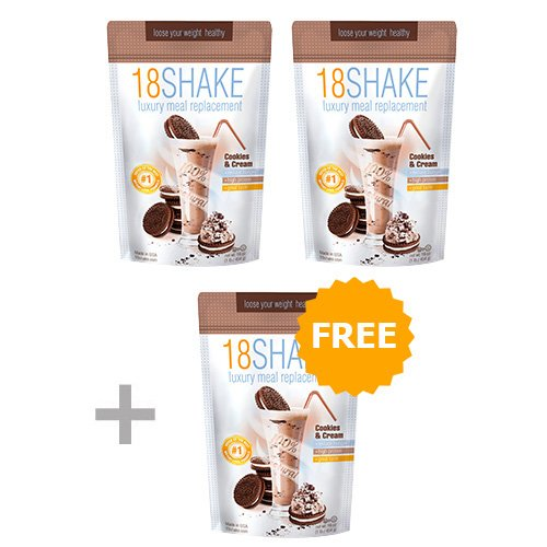 18 Shake Cookies & Cream - 3pck - Top Rated Protein Formula - Gluten Free - No Hormones - No Artificial Sweeteners - 100% Healthy Weight Loss by 18 Shake (Image #1)