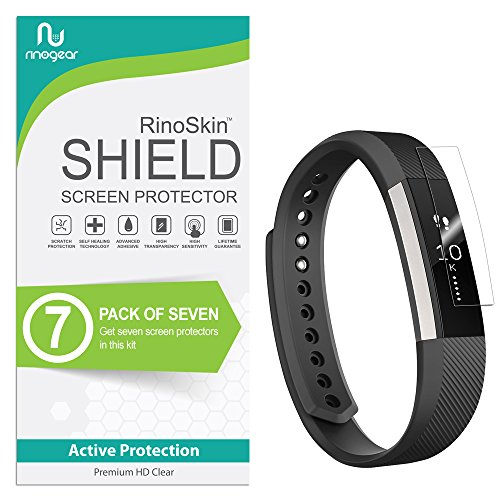 [7-Pack] RinoGear for Fitbit Ace/Alta HR Screen Protector (Also Works for Fitbit Alta 2016) [Active Protection] Flexible HD Crystal Clear Anti-Bubble Film