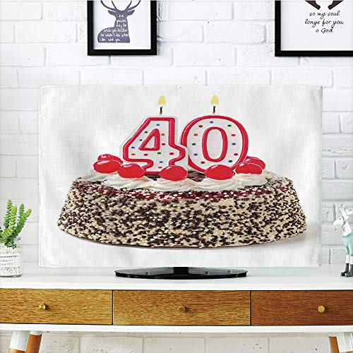 iPrint LCD TV dust Cover,40th Birthday Decorations,Yummy Desert Sweet Party Cake Burning Number Candles Cherries,Multicolor,3D Print Design Compatible 37