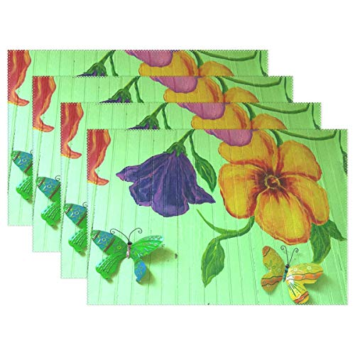 Cheap  Wall Art Mural Flower Colorful Butterfly Wood Placemats Set Of 4 Heat..