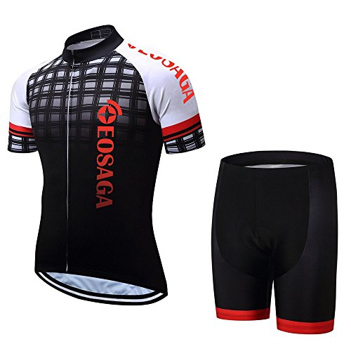 - EOSAGA Men's Cycling Jersey Set Bicycle Short Sleeve Set Padded Breathable Cycling Jersey Red L