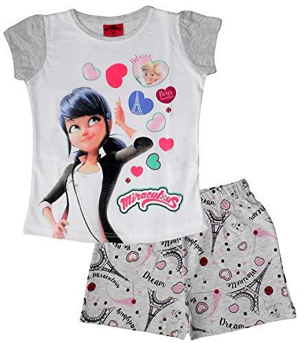 Miraculous Ladybug Girls Summer Short Pajamas (Grey, 8 Years)