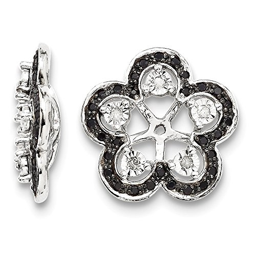Sterling Silver Rhodium Diamond & Black Sapphire Earring Jacket by Jewels By Lux
