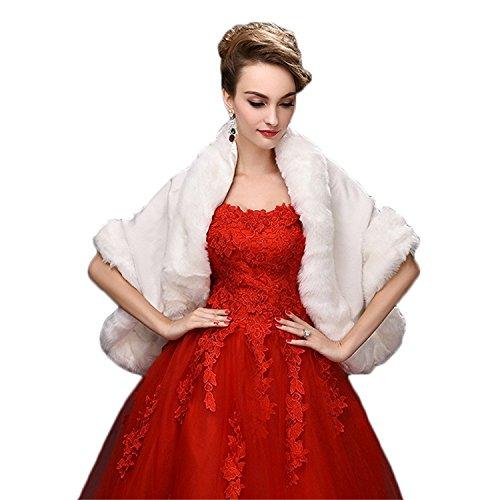 FOLWEP Women's Faux Fur Wrap Cape Stole Shawl Shrug for Wedding/Party/Show,White (Fur White Fake Stole)
