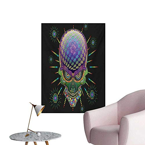 Anzhutwelve Psychedelic Wallpaper Digital Mexican Sugar Skull Festive Ceremony Halloween Ornate Effects DesignMulticolor W24 xL32 Custom Poster