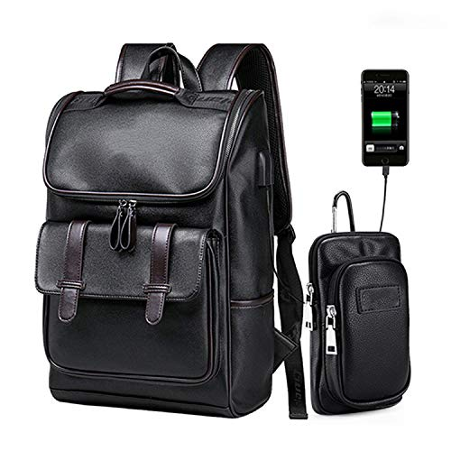 (Men Backpack External USB Charge Waterproof Fashion PU Leather Travel Bag Casual,1032 Backpack Bag)