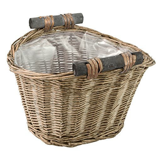 Handmade Woven Wicker Basket with Wood Handle & Lining / Decorative Rustic Garden Small Planter Pot (Wicker Pot)
