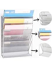 Catekro Organizador de oficina a prueba de herrumbre Soporte de documentos apilable de metal duro de 5 niveles, 40.6x10.5x32.5 cm