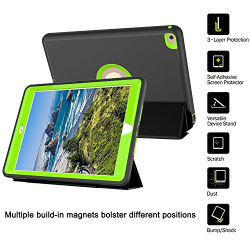 Qelus iPad Air2 Case, Three Layer Hybrid Shockproof Rugged Protective Heavy Duty with Magnetic Stand, Smart Cover Auto Wake/Sleep Protective Case Cover for Apple iPad Air 2(2014 Released),Black+Green by Qelus (Image #2)