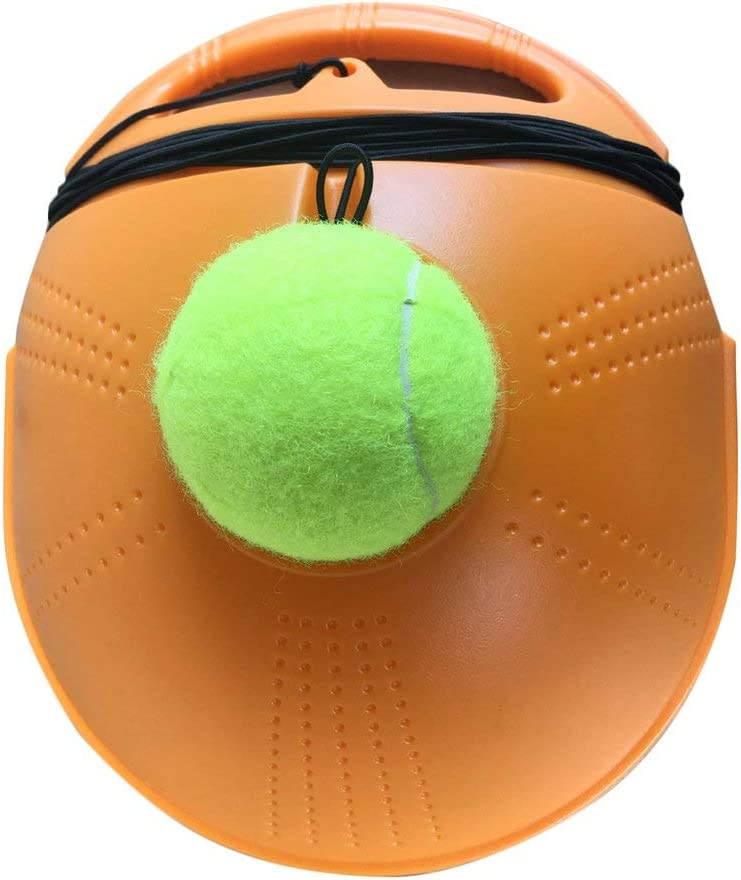 DGdolph Tennis Ball Base Trainer Set with Long Rubber Elastic Rope Band Tennis Orange