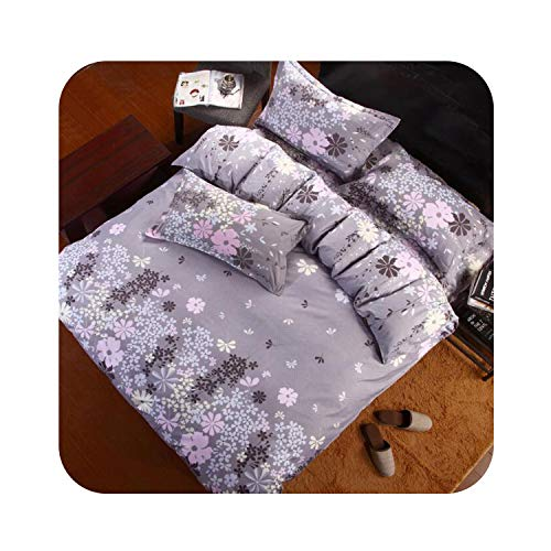 (New Chinese Style Geometric Pattern Stripes Flowers 4pcs/3pcs Quilt Cover Sets Polyester Bed Linen Flat Bed Sheet Set Pillowcase,Light Green,Quee Cover 200x230cm)