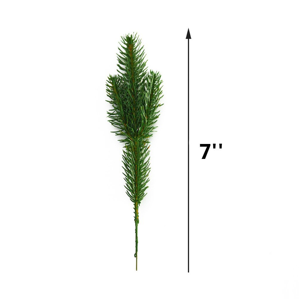 Yarssir 25pcs Artificial Greenery Pine Needle Garland Pine Picks Christmas Holiday Home Decor, 7x3 inches(Green-25 Pack) by Yarssir (Image #4)