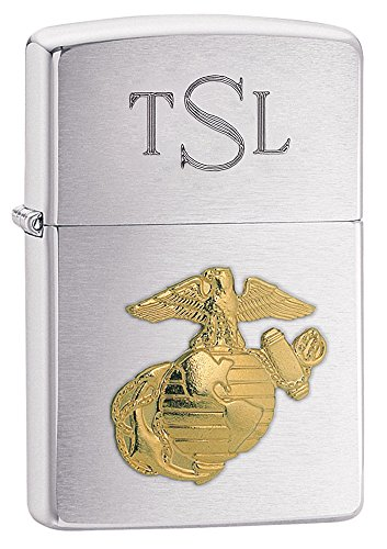 (Personalized Zippo U.S. Marines Emblem Lighter with Free Engraving)