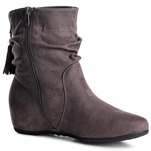 topschuhe24 871 Damen Boots Stiefeletten Keilabsatz Grau