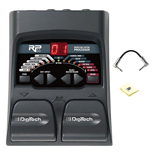 Digitech RP55 Multi effects Guitar Pedal with Two Footswitches, Built-in Drum Machine and Tuner Guitar Pedal Package Included Patch Cable and Zorro Sounds Polishing Cloth by DigiTech