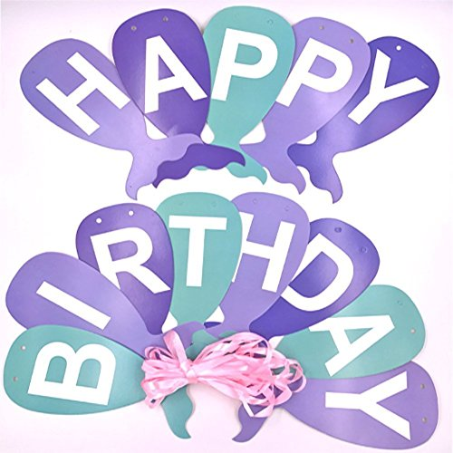 Happy Birthday Banner-Mermaid Tail Design Bunting for Party Decorations, Versatile