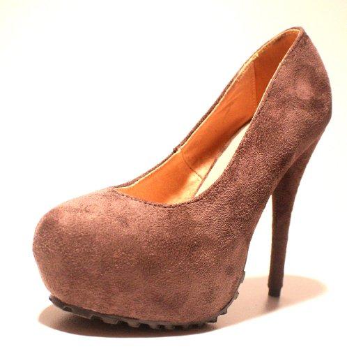 Erogance Velourleder Plateau High Heels - Plataforma de cuero sintético mujer, color negro, talla 41