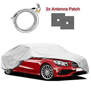 "RVMasking Heavy Duty Car Cover Fits 170"" - 185"" Length Sedan, Water Resistant All Weather Hail Proof UV Protection Winter Snow Full Car Protector Covers with Anti-Theft Lock"