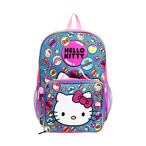 Hello Kitty Denim Blue Backpack with Insulated Lunch Kit for Girls ()
