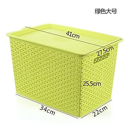 Tianliang04 Cesta De Almacenaje De Mimbre Una Cesta De Almacenamiento Cubiertas De Plástico Rectangular Canasta Imitación