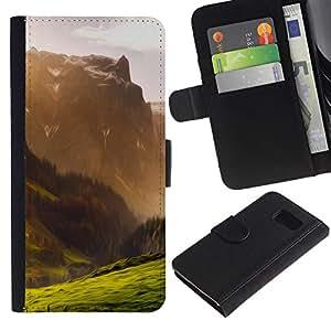 JackGot ( Ilustración de la montaña ) Samsung Galaxy S6 la tarjeta de Crédito Slots PU Funda de cuero Monedero caso cubierta de piel