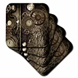 3dRose Heike Köhnen Design Steampunk - Steampunk design, clocks and gears - set of 4 Coasters - Soft (cst_262388_1)