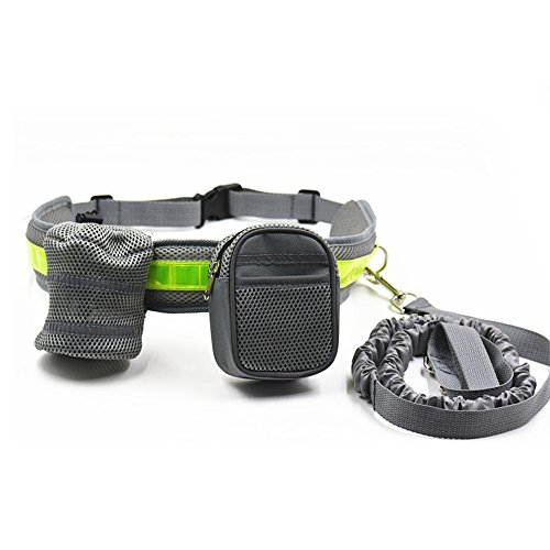 X-Sunshine Hands Free Dog Leash Adjustable Waist Belt for Running Walking Hiking Jogging With Storage Pouch and Waist bag For MP3, Keys (Grey)