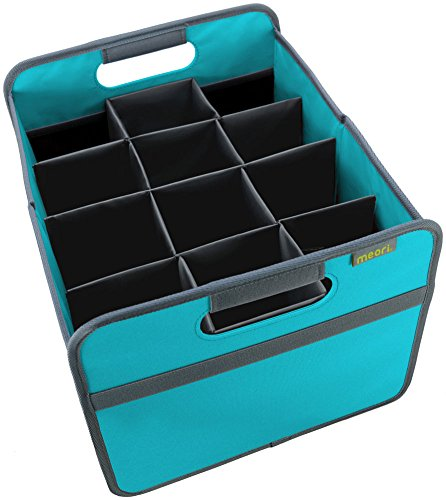 meori 12 Bottle Wine Carrier - includes Medium Foldable Storage Box (22 Liter / 6.5 Gallon, Azure Blue) & a Protective 12 Bottle Insert - A Better Way to Carry a Case of Wine (Up To 65lbs) (Storage Wine Open)