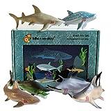 Lello & Monkey Shark Sea Creature Toy Animal Figures Boxed set of 6