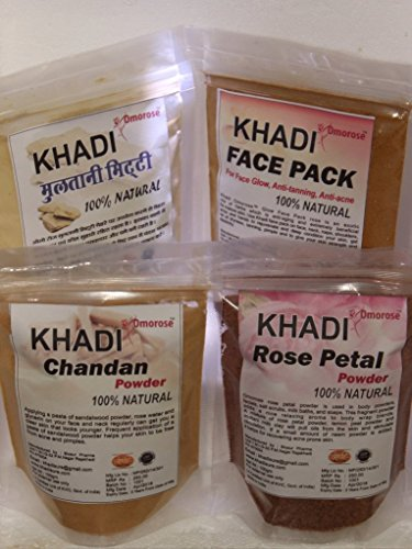 Khadi (Chandan powder, Multani mitti, Rose petal powder and Face Pack ) Face Care Combo 100 gm Each