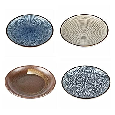 Lagute Porcelain Dinnerware Plate Set of 4 pack Japanese Zen Style Dipping Sauce Dishes, for Appetizer, Dessert, Salad, Snack, Sushi, Fruit, Bread (Ice Cracks, Medium 3.8 ) (Ice Cracks) (3.8 )