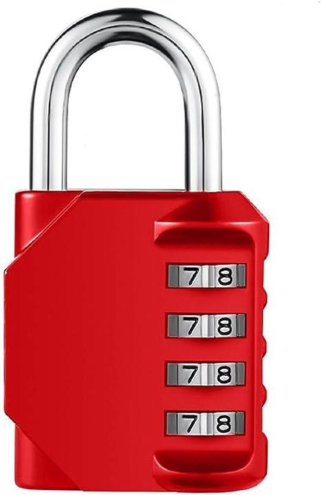 Cerradura de combinación, CJSJ 4 dígitos candado para escuela, equipaje maleta equipaje Locks, archivadores, gimnasio y deportes Locker, caja de herramientas, valla, caso, 1 Pack, Rojo: Amazon.es: Deportes y aire libre
