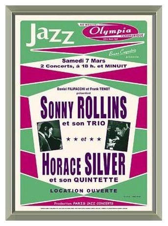 Sonny Rollins & Horace Silver Paris 1964 Concert Poster Reproduction - Quality Framed Print