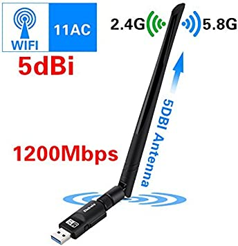 Elekele Receptor WiFi,WiFi USB Adaptador Antena WiFi Largo Alcance Adaptador Inalámbrico USB Mini Receptor WiFi Dongle WiFi Adaptador USB WiFi del ...