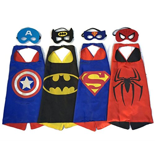 [Superhero Dress Up Costumes 4 Satin Capes&4 Felt Masks for Kids] (High Quality Spiderman Suit)