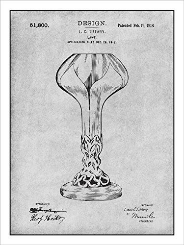 Leaded Stained Glass Lamp (1918 Louis Comfort Tiffany Lamp Patent Print Art Poster UNFRAMED Gray 18