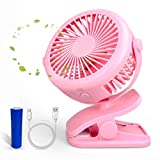 pink desk clip fan - Lantoo Battery Operated Clip On Fan Desk Fan, Rechargeable Personal Portable Stroller Fan, 360 Degree Rotation Table Fan with 3 Speeds for Baby Stroller, Office, Travel, Outdoor, Camping