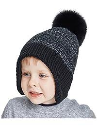 Toddler Winter Hats For Boys Ear Flap Beanie Kids Real Fox Fur Pom Pom Beanie